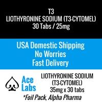 T3 Liothyronine Sodium (Cytomel) 30 Tabs 25mcg